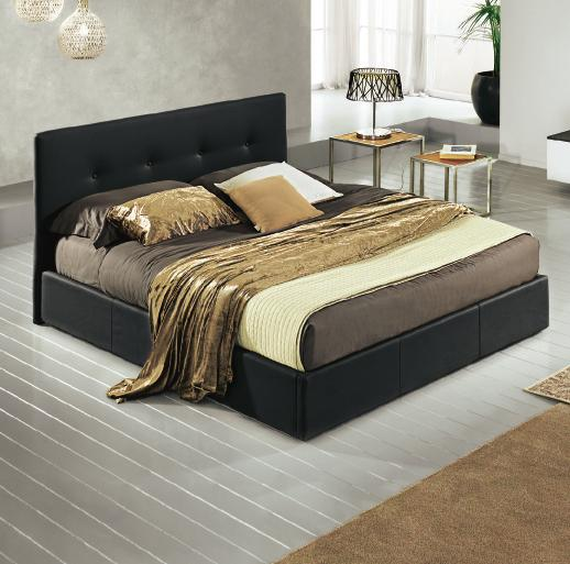 doghe cm 178x203x100h 8QN6 Similpelle Champagne 48h Letto
