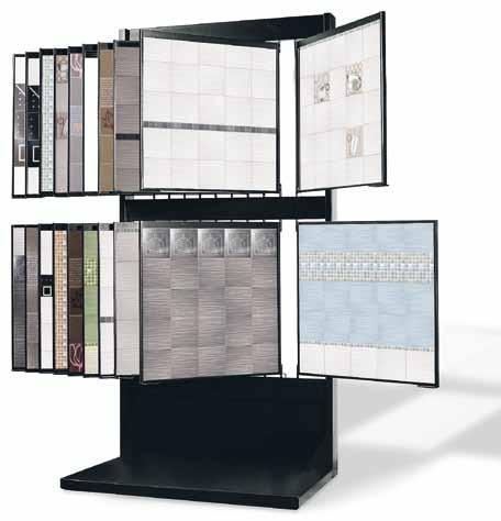84 / 52 Display capacity: nr. 16 two-faced folding frames preset for nr. 64 panels 65x65 cm or nr. 32 panels 65 x 130 cm. nr. 20 drawers of 65 x 65 cm.