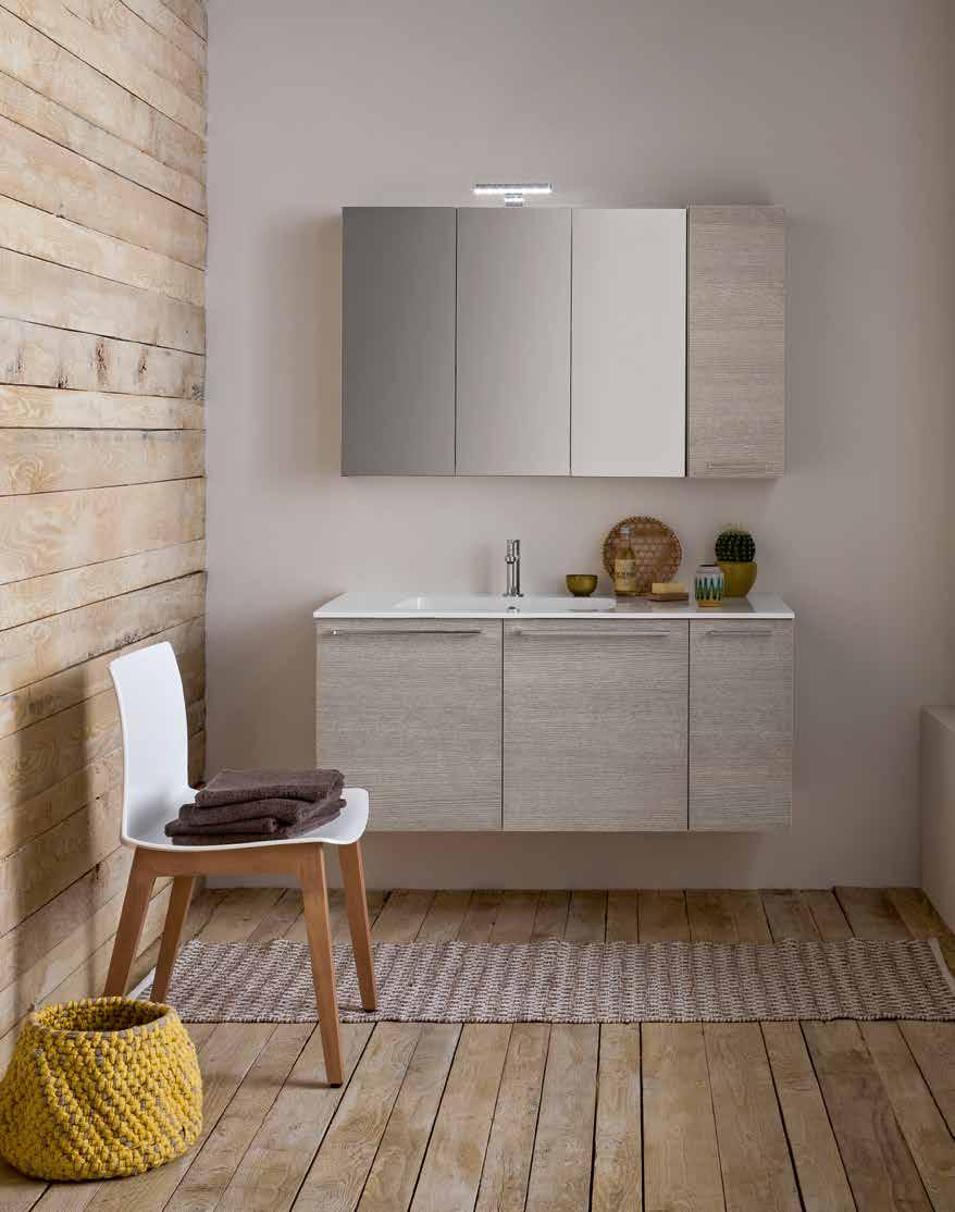 finiture larice ecrù type opening with doors size W 105 x D 50 x H 52 cm + wall unit W 25 x D 20 x H 70 cm worktop