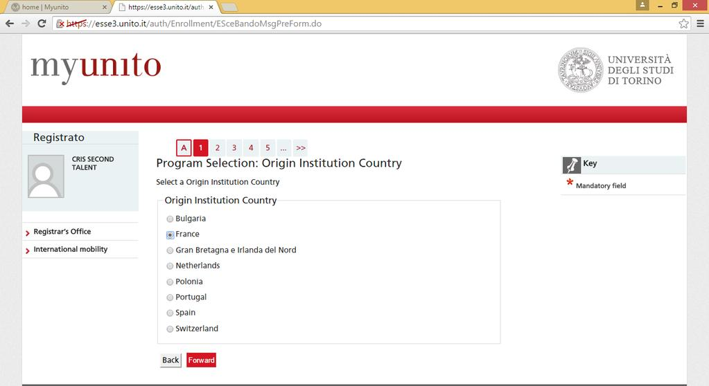 Select your home Country and then click on