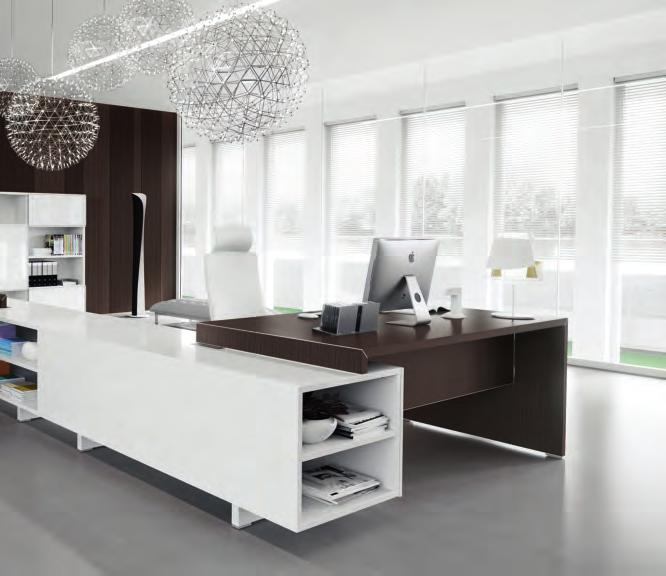 Solution with double workstation connected through service units equipped with open storage spaces and