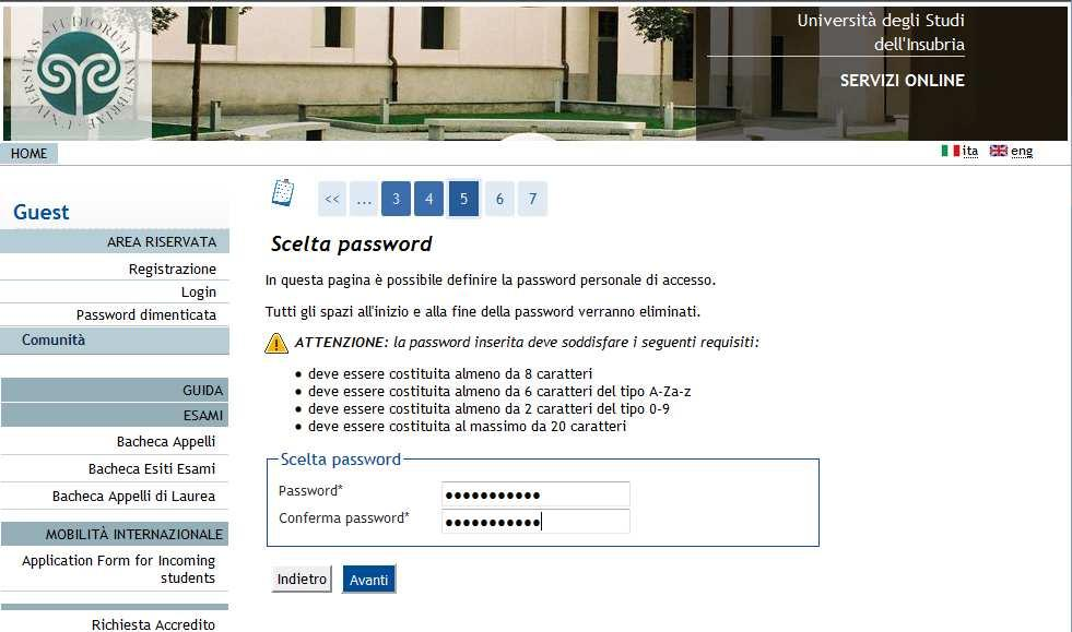 5 scegliere una password