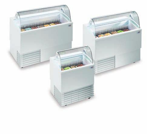 Isetta Promotional ice-cream cabinets with static refrigeration, finned evaporator and automatic electric defrosting.