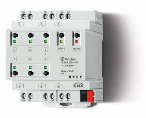 SERIE SERIE Switching actuator with KNX technology - 16 A Compact and powerful switching actuator with 6 relay outputs 6 output contacts rated 16 A 250 V AC, individually configurable NO or NC LED