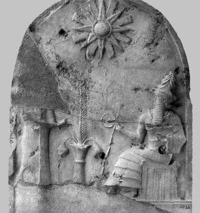 The Shamash-stele:a worshipper pours a libation over a tree of life.