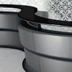 in shiny purple colour lacquer finish (RAL 4007). Curved and upper transition mouldings, decorative plinth and blades painted with embossed aluminium grey finish (RAL 9023). 2.