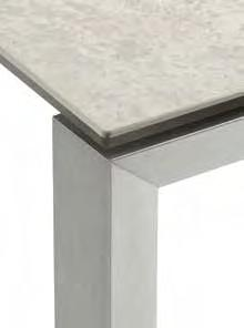 Tavolo acciaio satinato, cristalceramica VC3 Tavolo acciaio satinato, cristalceramica VC4 Tavolo acciaio corda, cristalceramica VC3 Table satin steel, VC3 crystalceramic top Table satin steel, VC4