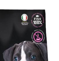 SENZA appetizzanti chimici - No flavouring additives - unica fonte proteica animale - animal protein only from - alimento completo per cuccioli puppy & junior con pesce piselli e favetta Alimento