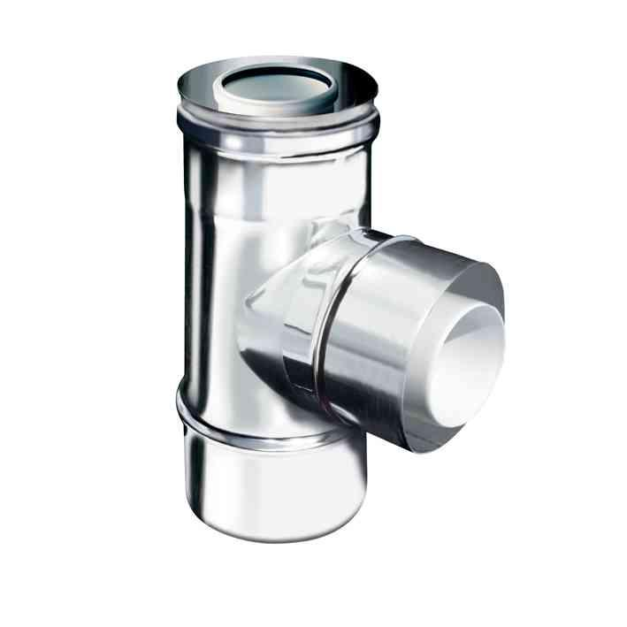 per ventilazione coassiale polipropilene (PPs) inox element concentric PPs Inox element for smokes DN60/100 tee concentric PPs Inox 90 DN60/100