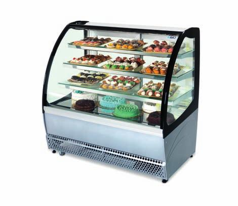 Metrò lx/st Pastry display cabinet at ventilated refrigeration. One piece body with ecological polyurethane insulation (HCFC & HFC free), foamed with C0 2-50 mm thick.