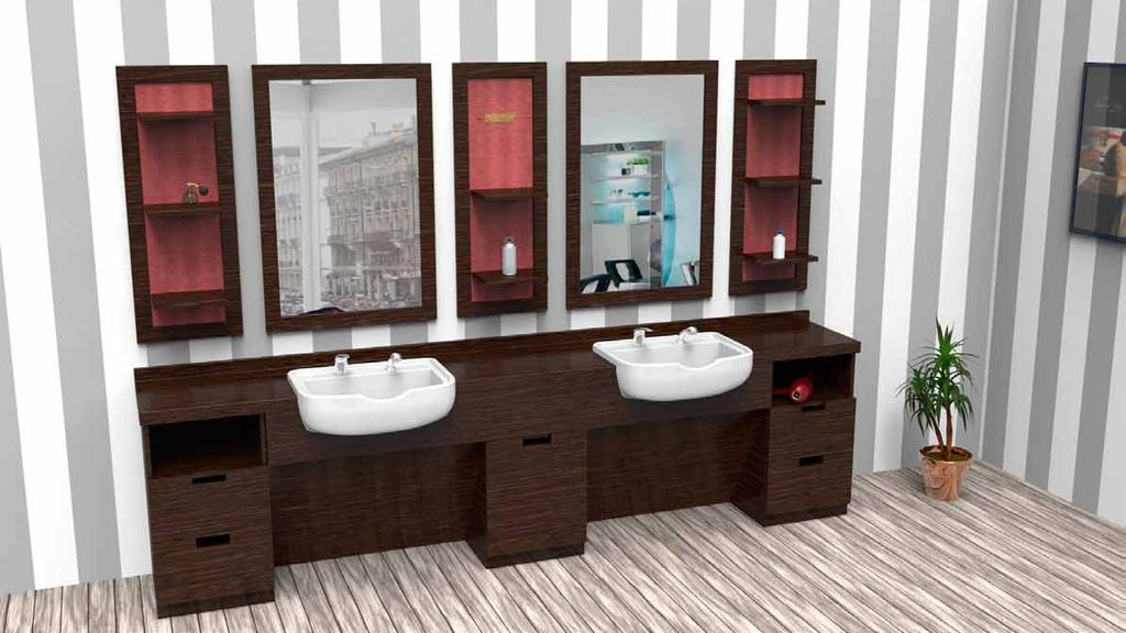 with drawers and showcase, sinks and mixer with extractable shower.