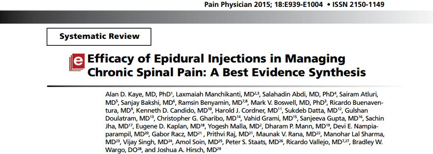 Review of 52 randomised controlled trials (RCTs) The evidence for long-term improvement in lumbar postsurgery syndrome is Level II for caudal epidural injections based on one long-term trial showing