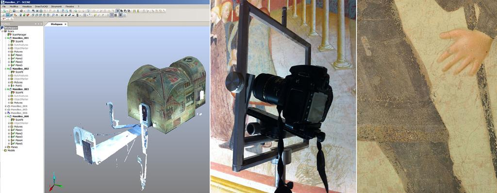 Fig. 3 On the left, the laser scanner points cloud of the Baptistery; in the center, the acquisition of the photos through a stand equipped with a calibrated rotating head that allows the camera to