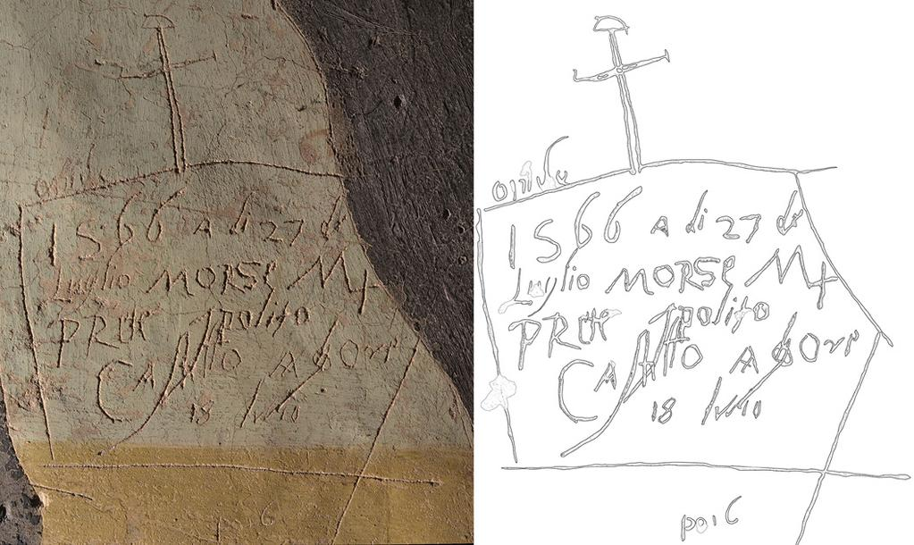 4 On the left, a detail of the orthophoto, made using grazing light, of the wall n. 10; on the right, the drawing of the graffito. of Castiglione Olona (Va).