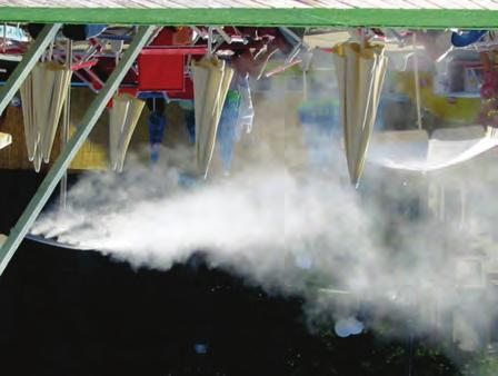The system is a combination of ventilation and fogging. Totem systems operate by the physical principle of evaporative cooling, creating a thin fog.