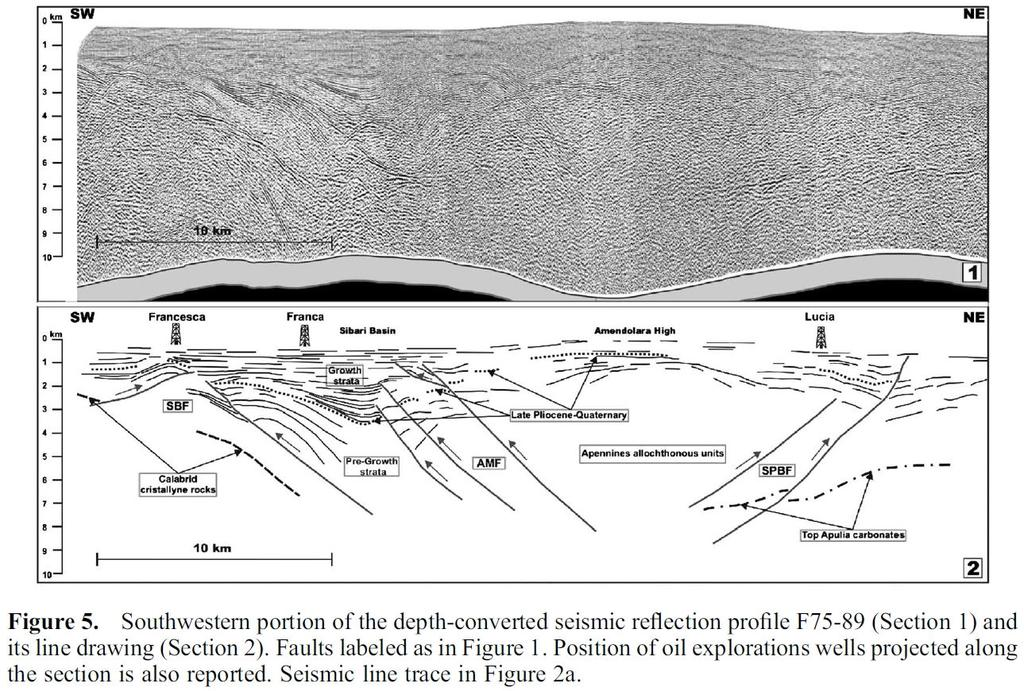 47 Figura 18. The off-shore seismic lines provide the deep geometry of the fault system controlling the marine terraces elevation trends and the uplift of the Amendolara Ridge.