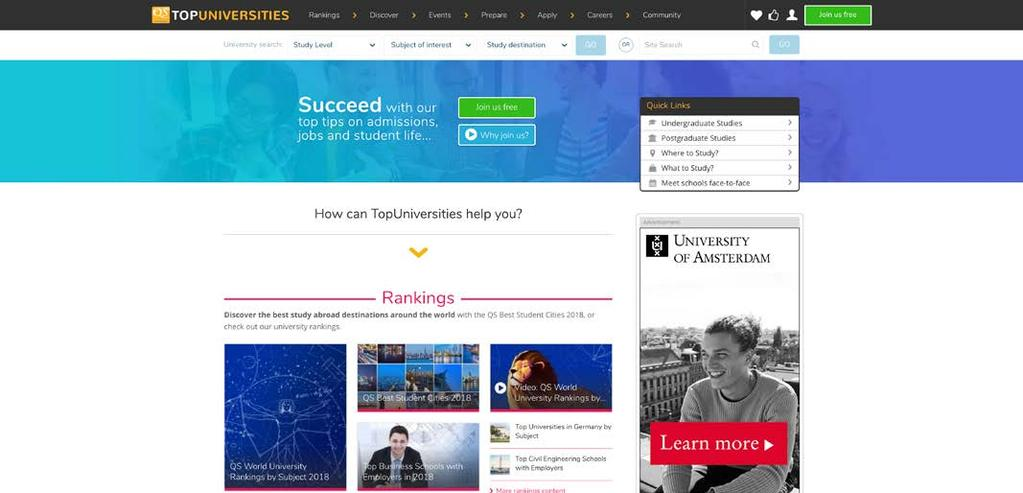 TopUniversities.com Il sito web del QS World University Tour, TopUniversities.