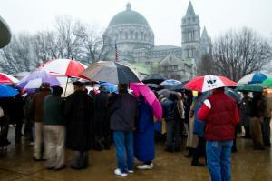 -- Joan Gummels Some 200 supporters of Fr. Bozek endured cold and driving rain to hear his report of his Feb. 5 hearing with Archbishop Raymond Burke.