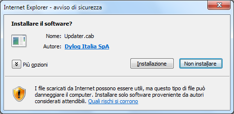 Windows XP Windows Seven Con questo messaggio il programma richiede di installare ed eseguire il file Updater.cab. Trattasi di un file interno.