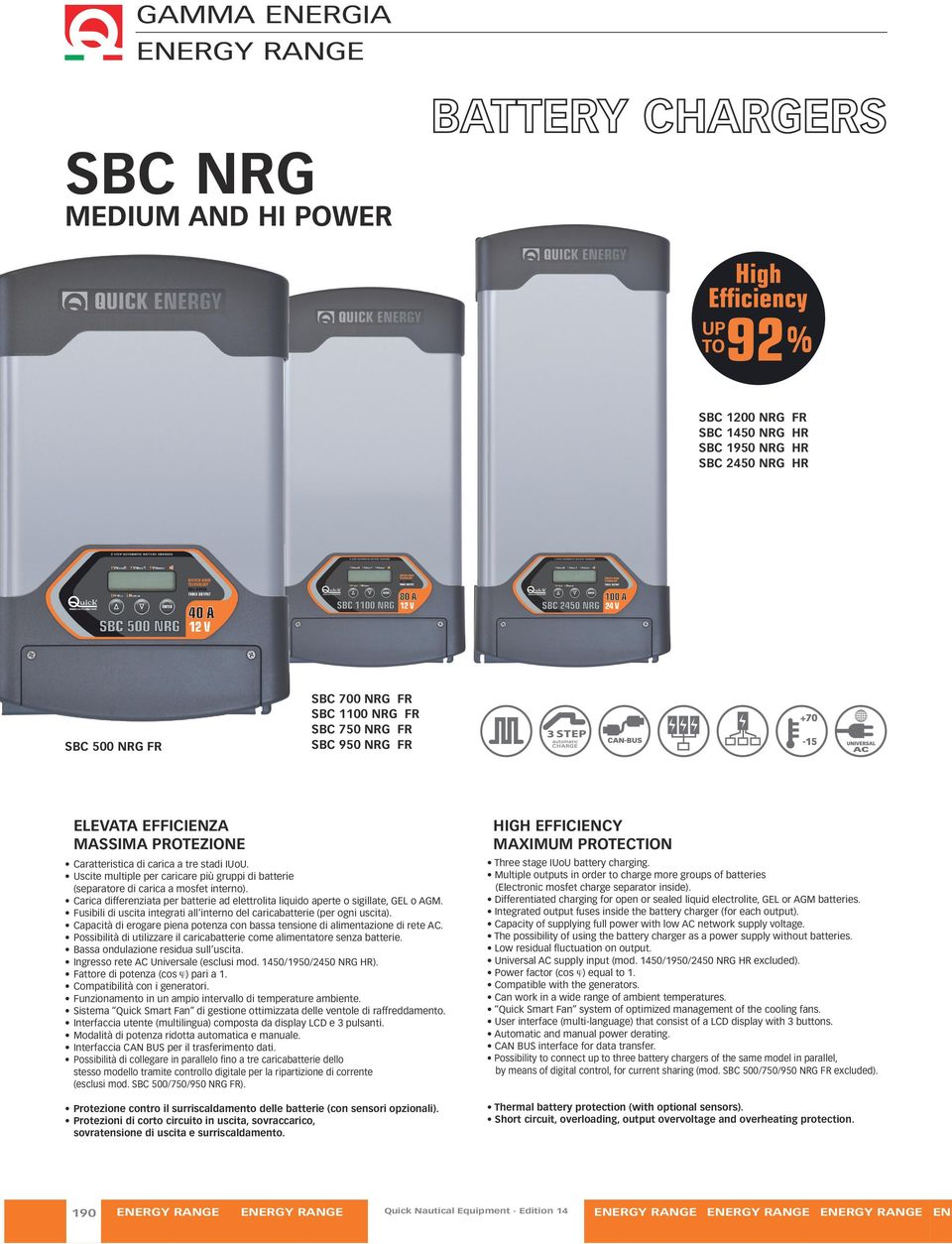 CARICA BATTERIA BARCA QUICK SBC NRG250 25A USCITE 3 BATTERY CHARGES 25 AMPERE