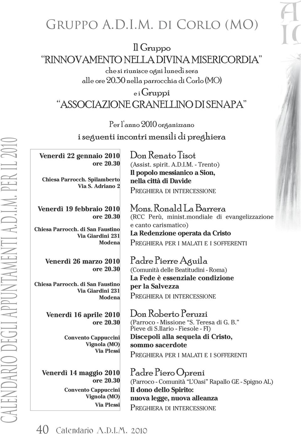 San Davide Calendario.Alleanza Dives In Misericordia Calendario Di Rinnovamento