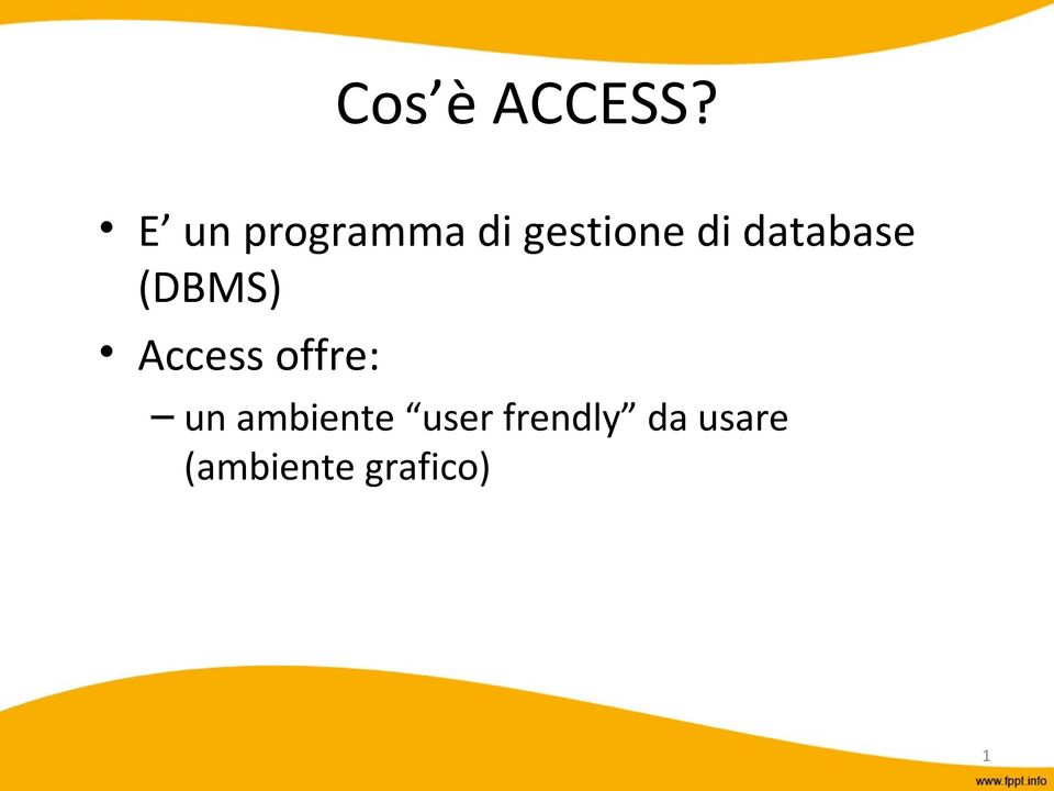 database (DBMS) Access offre: