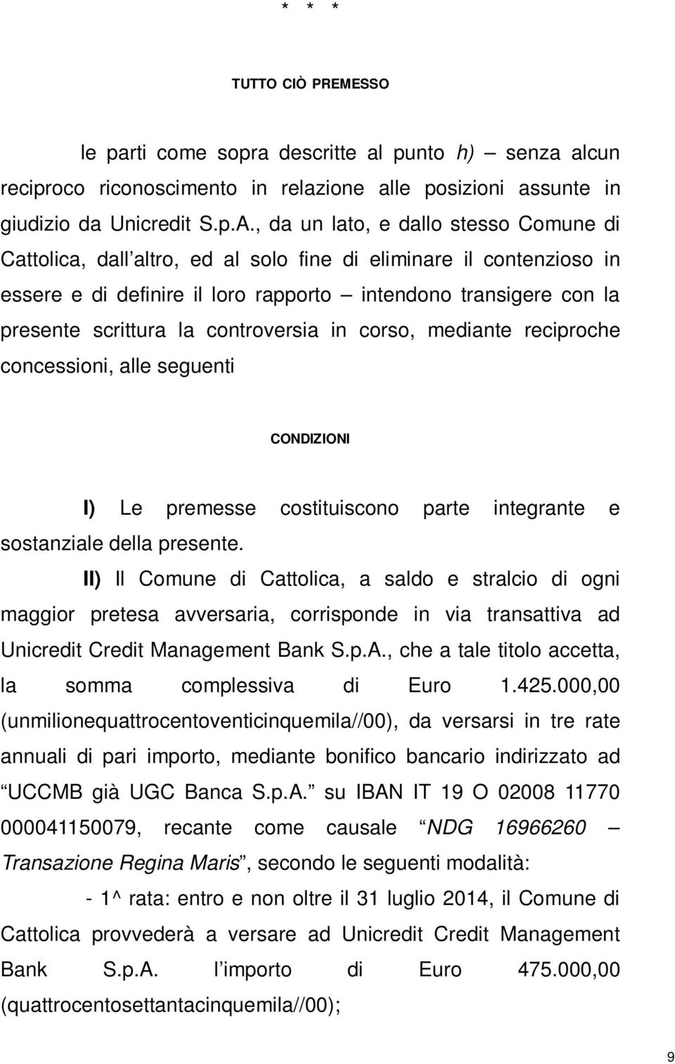 transazione unicredit credit management bank s.p.a - pdf