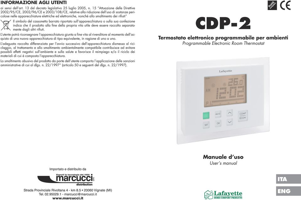 Cdp 2 Ita Eng Manuale D Uso User S Manual Termostato Elettronico Programmabile Per Ambienti Programmable Electronic Room Thermostat Pdf Free Download