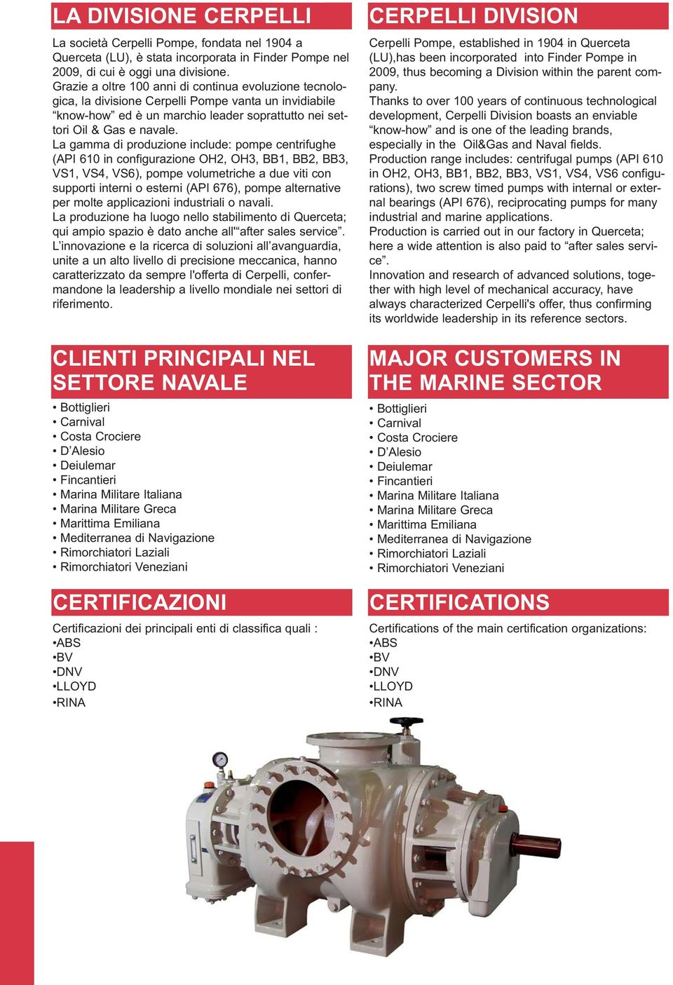 Pompe per il settore navale  Pumps for marine applications - PDF