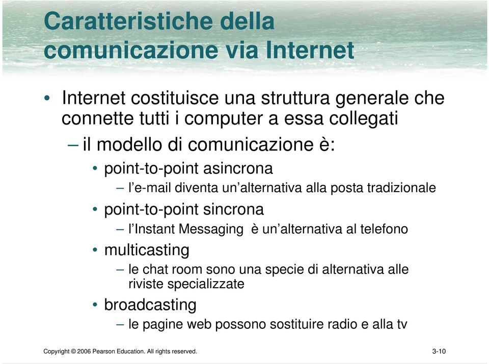 point-to-point sincrona l Instant Messaging è un alternativa al telefono multicasting le chat room sono una specie di alternativa