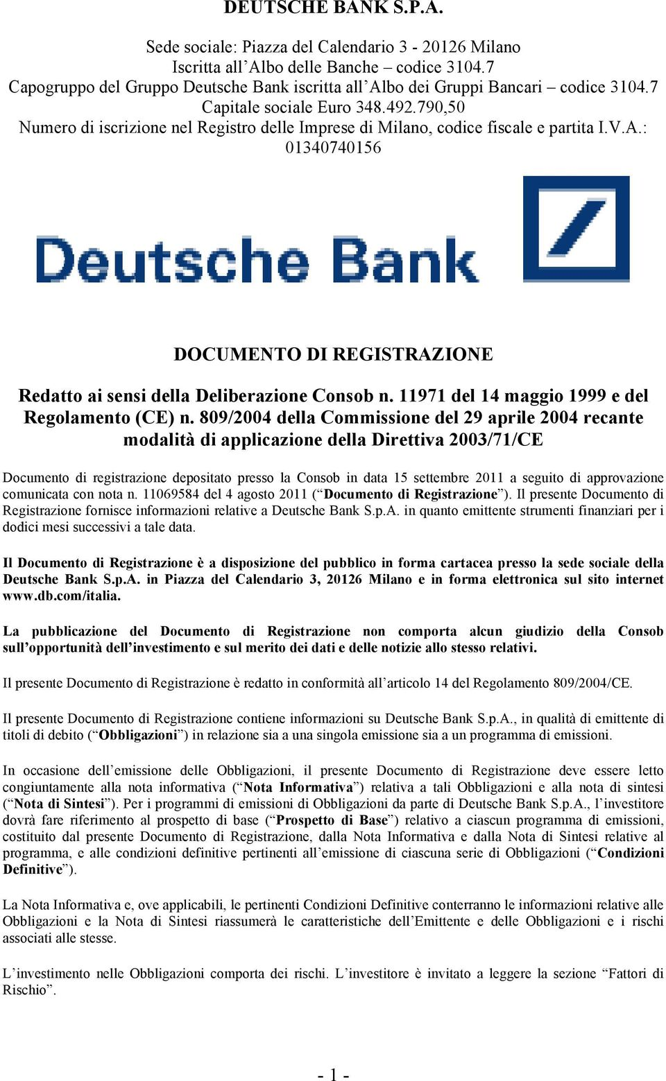 Piazza Del Calendario Milano.Deutsche Bank S P A Pdf