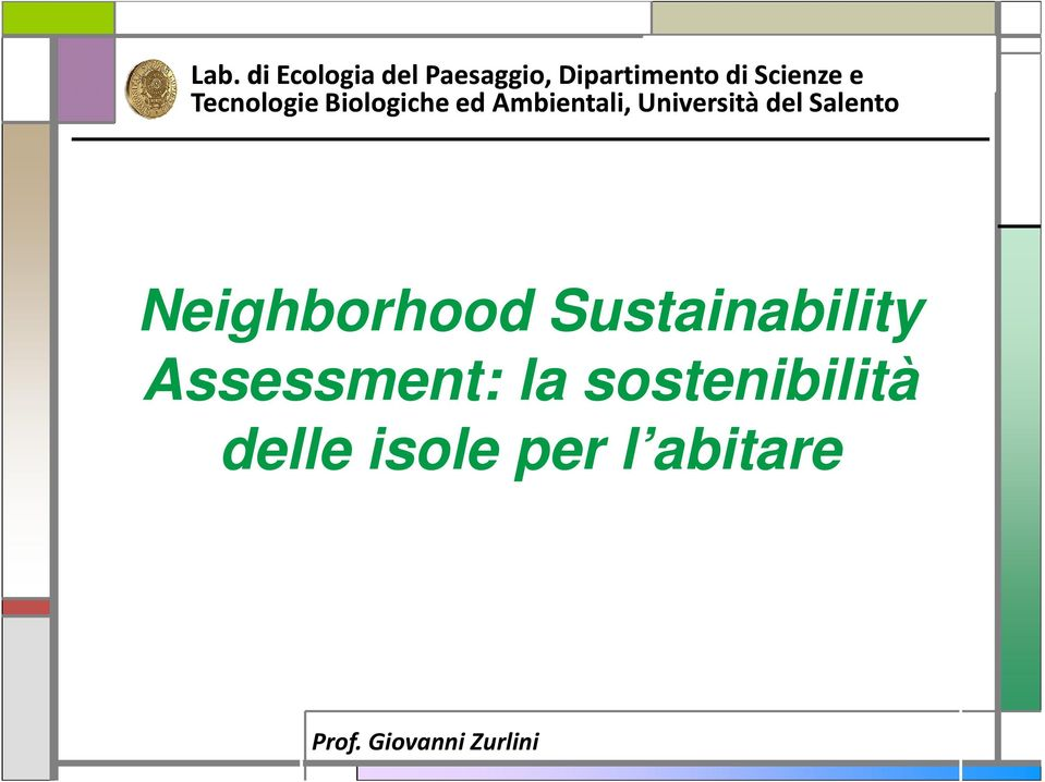 Salento Neighborhood Sustainability Assessment: la