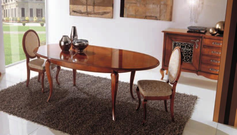 Extending tables of various shapes and sizes are accompanied by upholstered chairs covered in matching fabrics to select